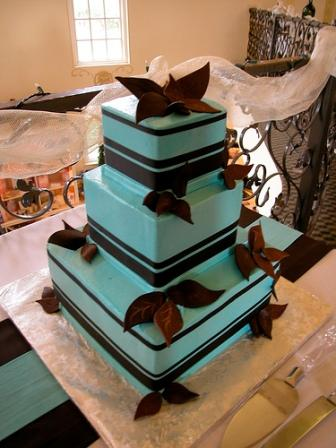 Chocolate Brown and Tiffany Blue Wedding Cakes