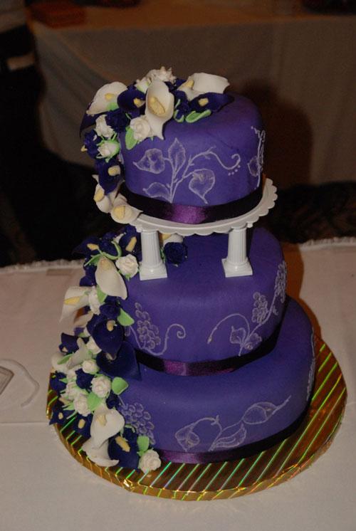 Dark Blue and Purple Wedding Cake
