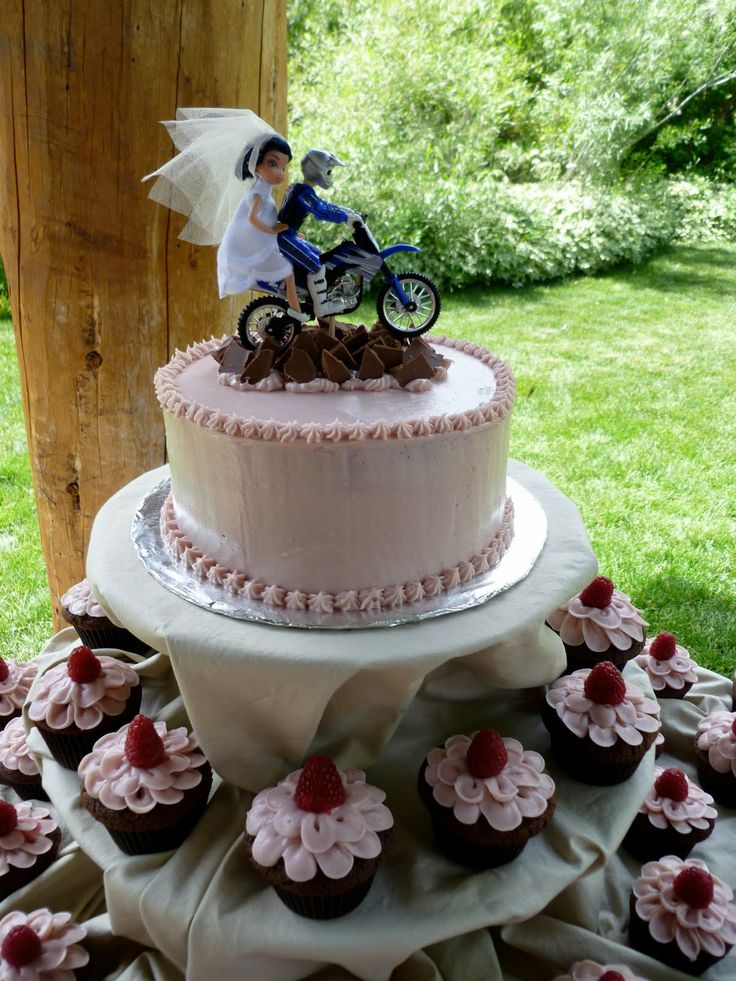 Dirt Bike Themed Wedding Cake