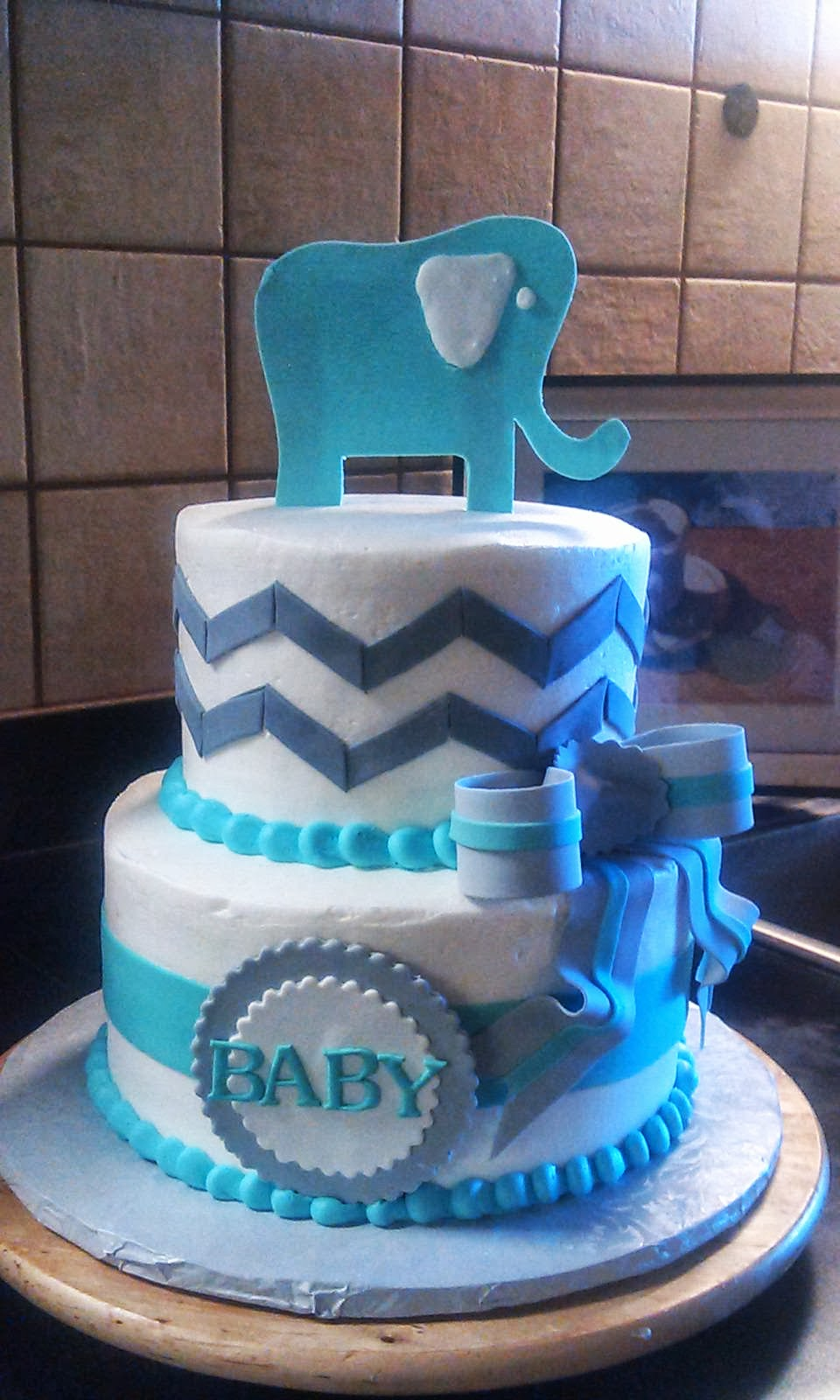 Elephant Baby Shower Cake with Chevron