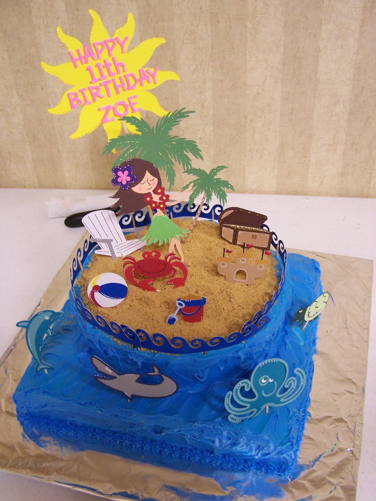 7 Photos of On Beach Scene Birthday Cakes