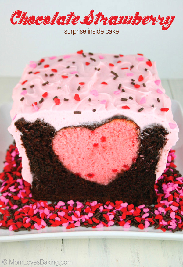 Heart Cake with Chocolate Covered Strawberries