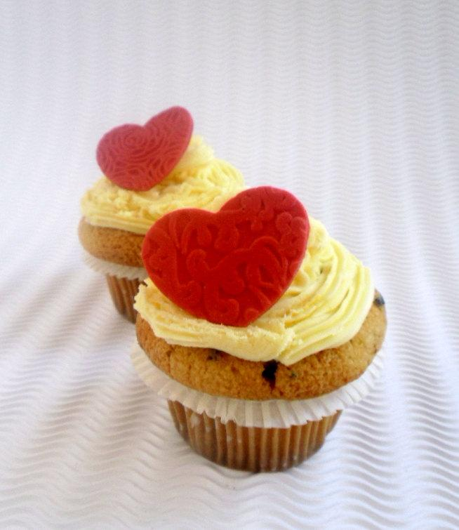 Heart Fondant Cupcake Toppers Edible