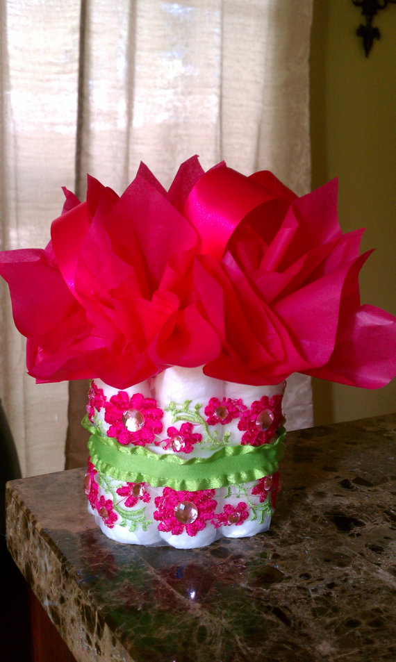 11 Photos of Hot Pink And Lime Green Baby Shower Diaper Cakes