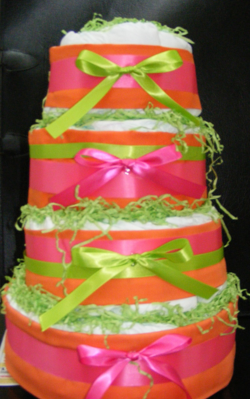 Hot Pink and Lime Green Baby Shower Cake
