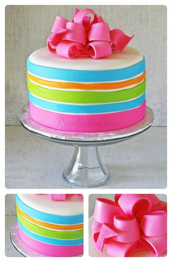 Hot Pink Bow Birthday Cake