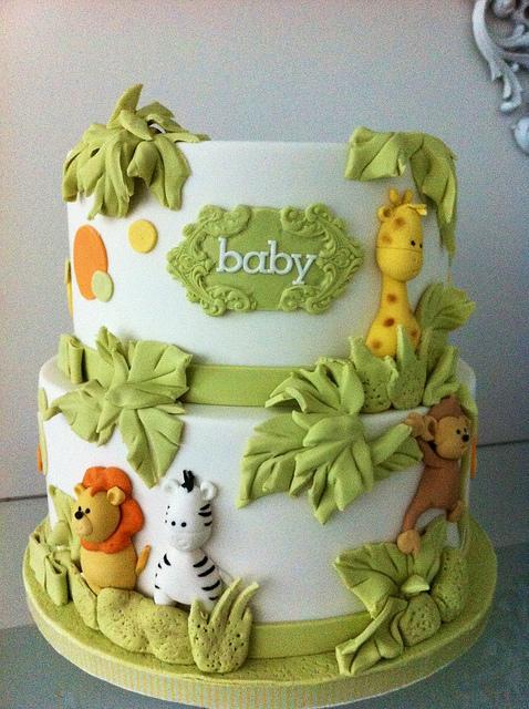 Jungle Animals Baby Shower Cake