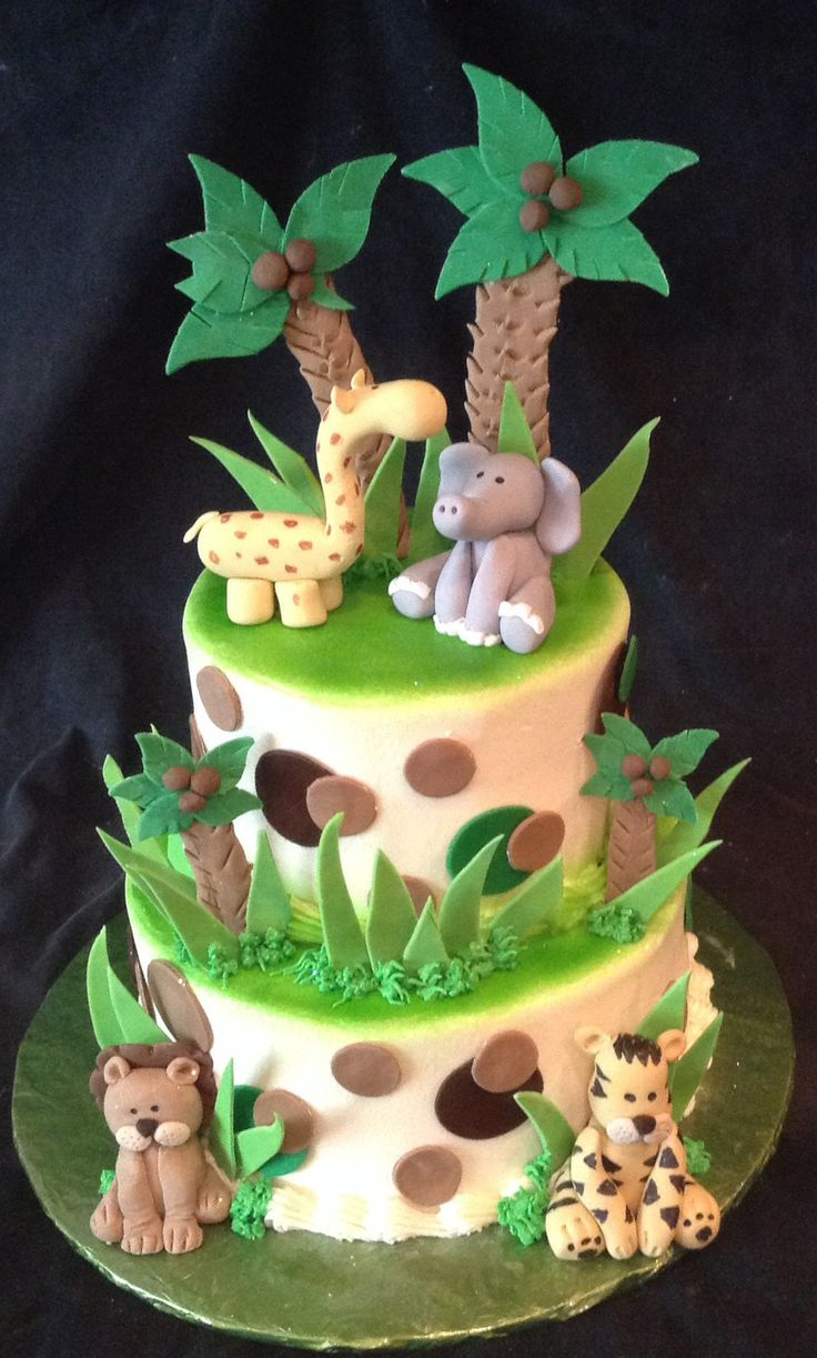 11 Photos of Jungle Theme Baby Cakes