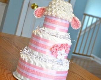 Lamb Baby Shower Cake
