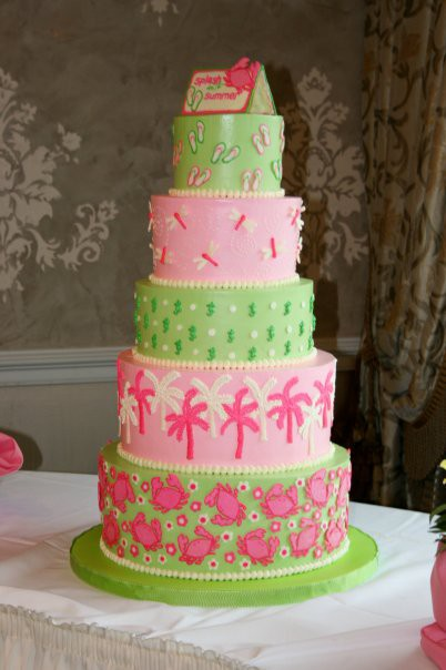 Lilly Pulitzer Pink and Green Cake
