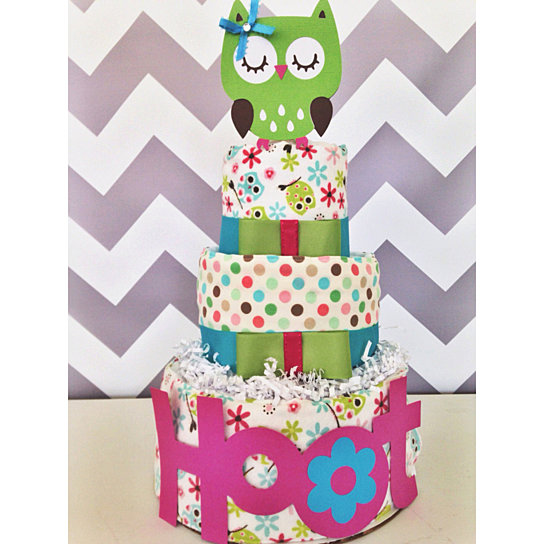 Lime Green and Pink Owl Baby Shower Cakes