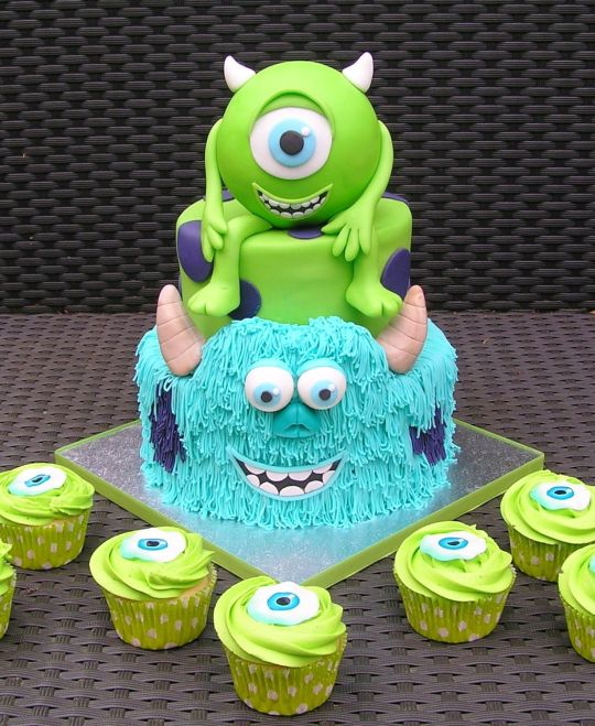 Monsters Inc Cake and Cupcakes