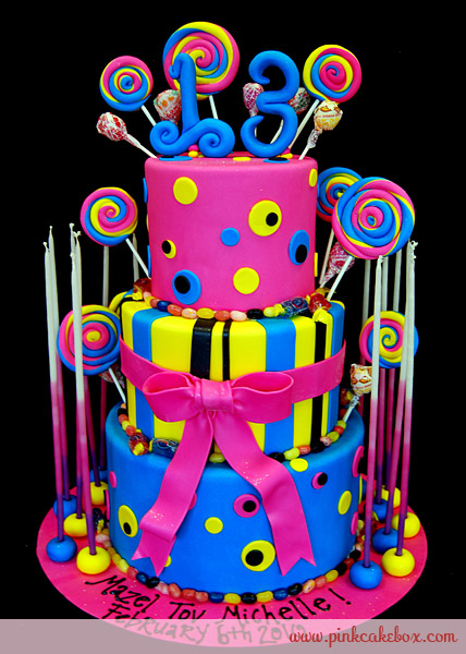 Neon Girl Birthday Cake Ideas