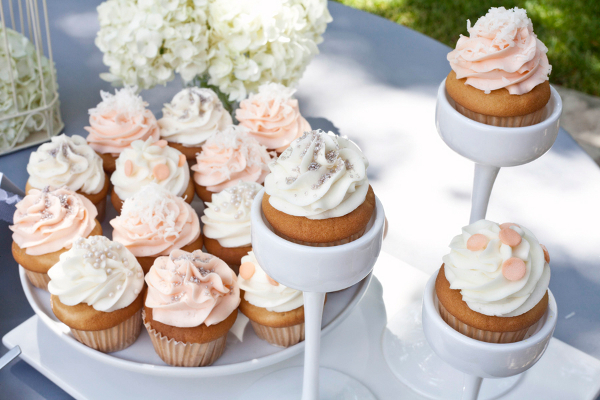 Peach and White Wedding Cupcakes