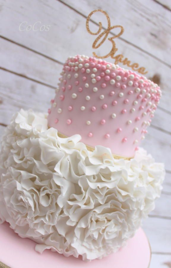 Pearl and Pink Baby Shower Cakes