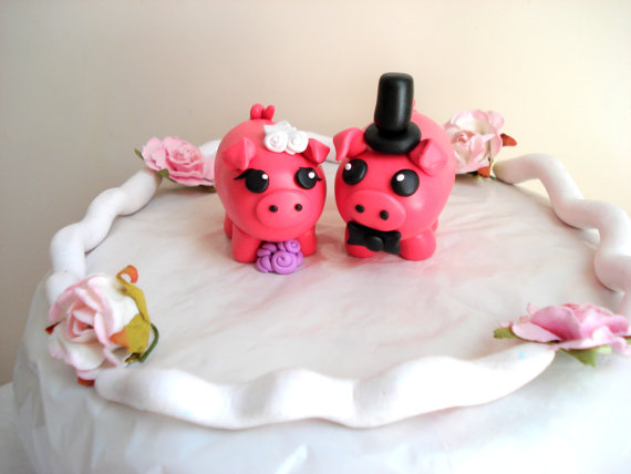 Pig Wedding Cake Toppers