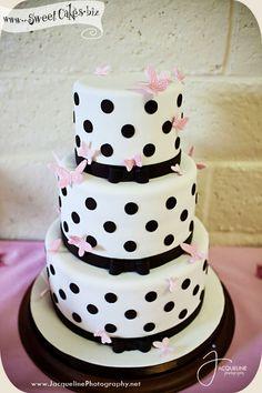 Pink and Black Polka Dot Cake
