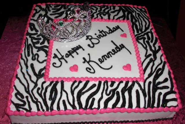 Pink and Black Zebra Sheet Cake