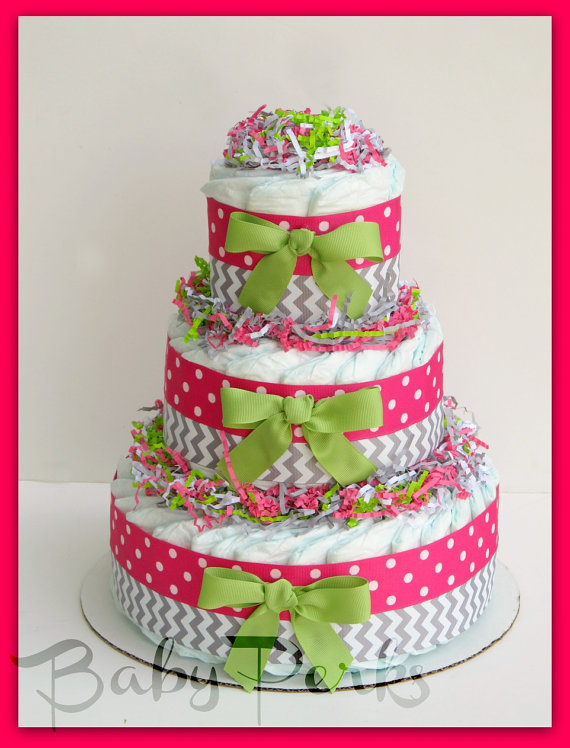Pink and Green Baby Shower Cake Girl