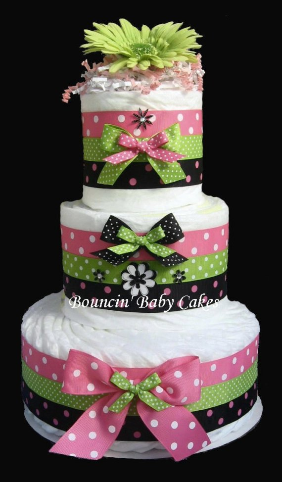 Pink and Green Baby Shower Diaper Cake