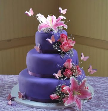Pink and Purple Wedding Cake
