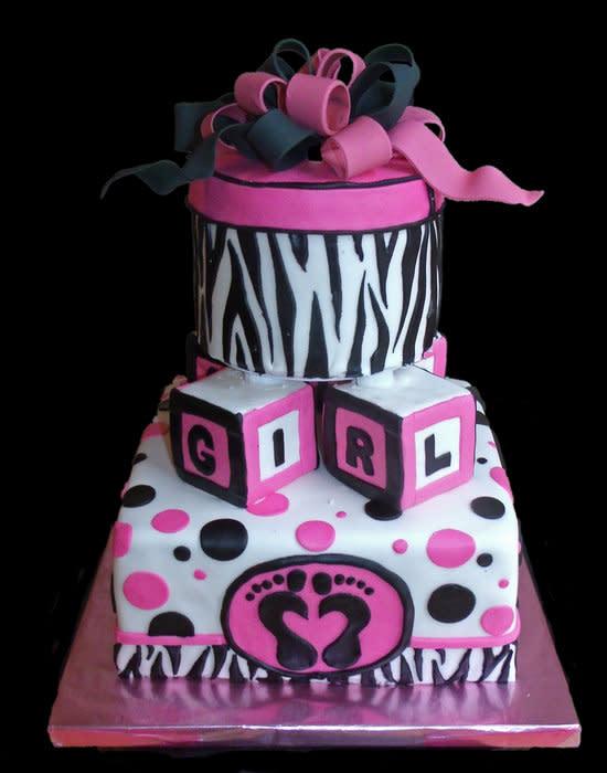 Pink and Zebra Baby Shower Cake