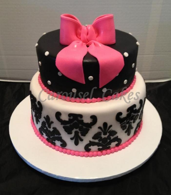 Pink Black and White Polka Dot Cake