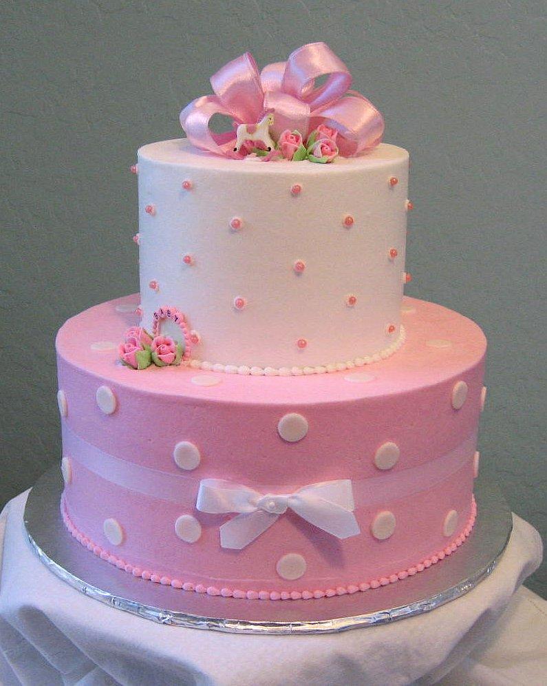 Pink Polka Dot Baby Shower Cake