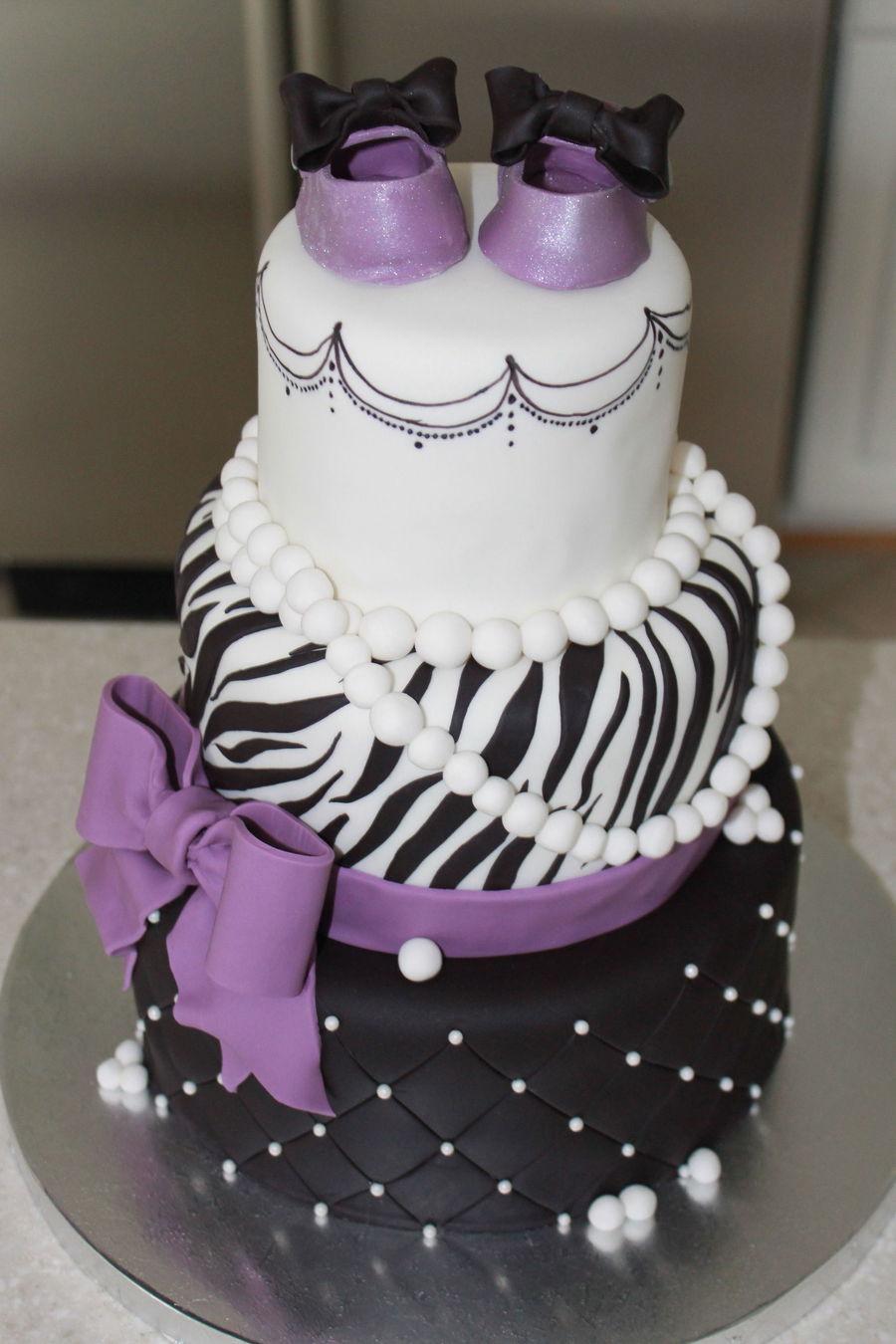 Purple and Black Zebra Baby Shower Cake