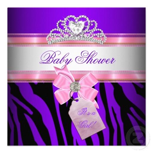 Purple and Pink Zebra Baby Shower Invitation