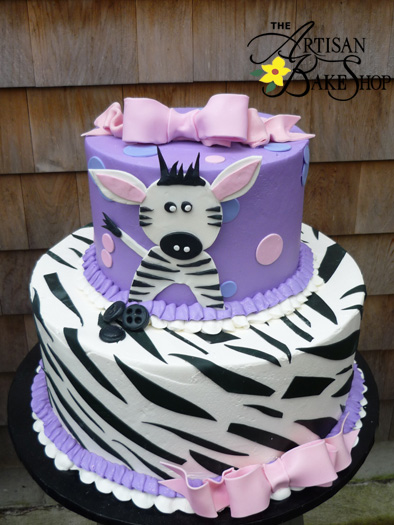 Purple and Zebra Baby Shower Cake