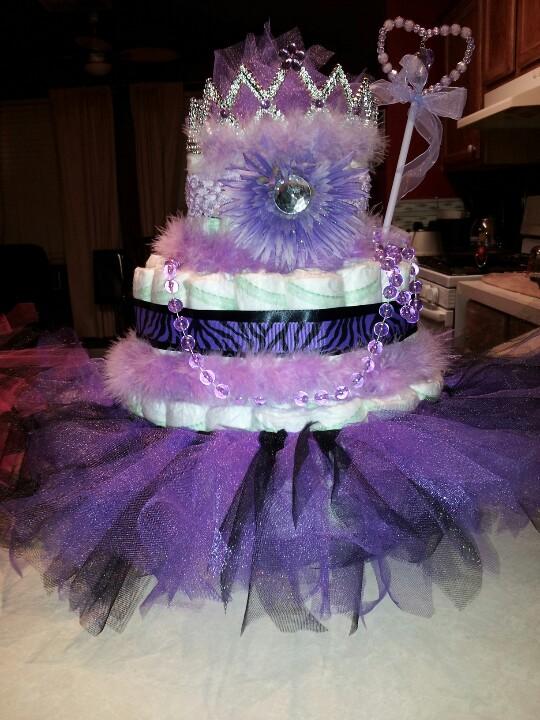 Purple Princess Tutu Diaper Cake
