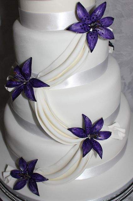 Purple Wedding Cake with Lilies