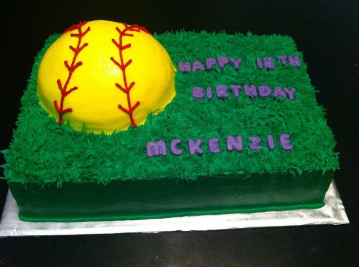 Softball Themed Sheet Cake