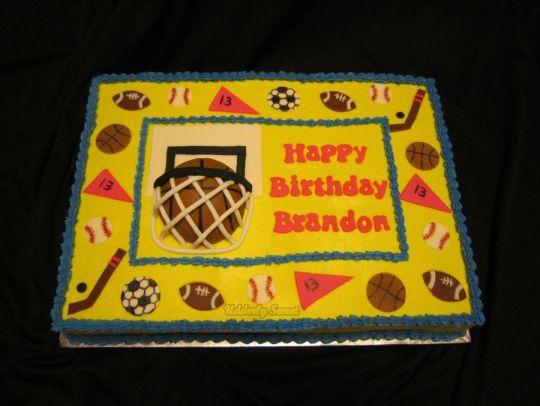 Sports-Themed Sheet Cake