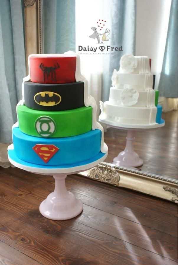 Superhero Half Wedding Cakes