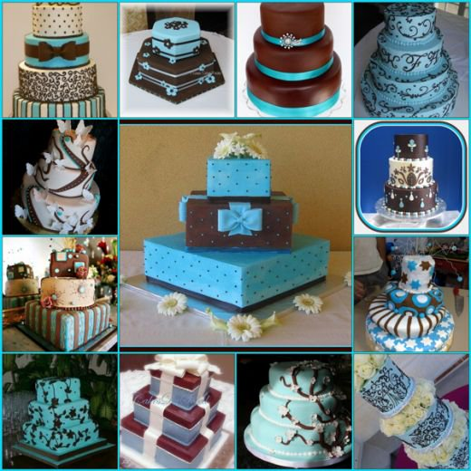 Tiffany Blue and Brown Wedding Cake