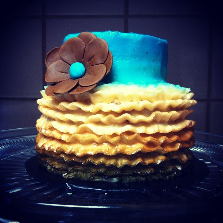 Turquoise and Brown Birthday Cake