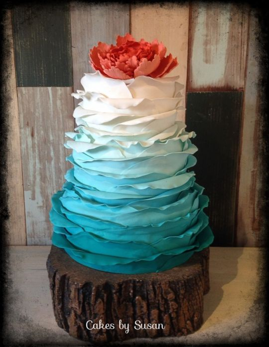 Turquoise and Coral Ombre Wedding Cake