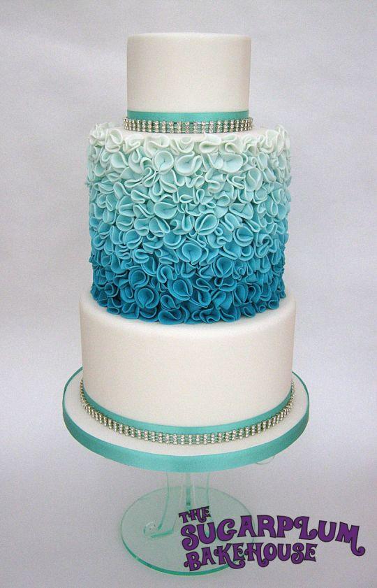 Turquoise Ombre Wedding Cake
