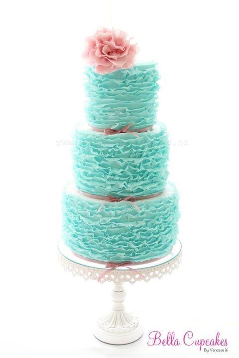 Turquoise Wedding Ruffle Cake