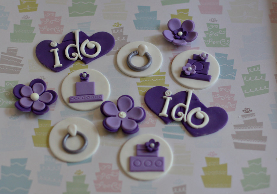 Wedding Shower Cupcake Fondant Toppers