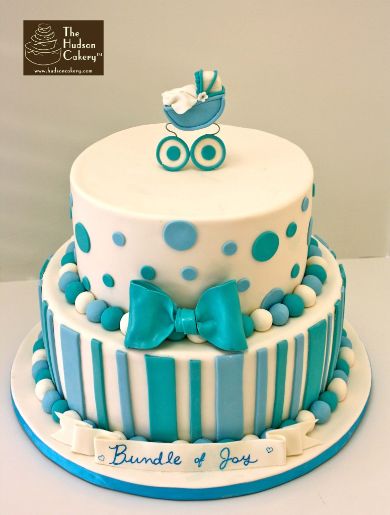 White and Blue Baby Shower Cake