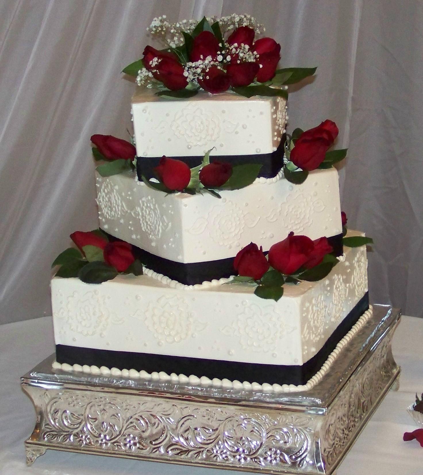 White Buttercream Wedding Cakes Red