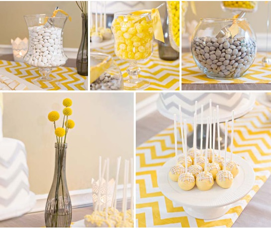 Yellow and Grey Chevron Baby Shower Ideas