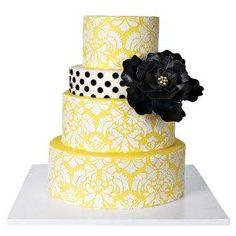 Yellow and White Damask Wedding Cake