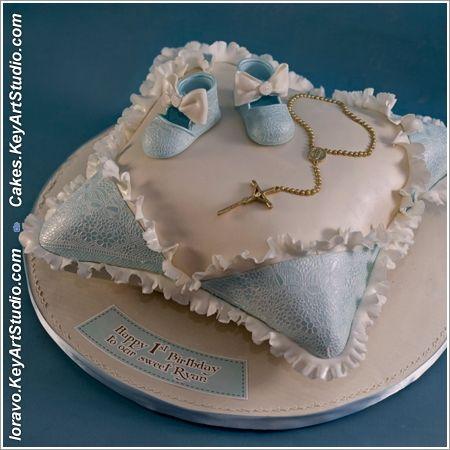 Baby Christening Pillow Cake