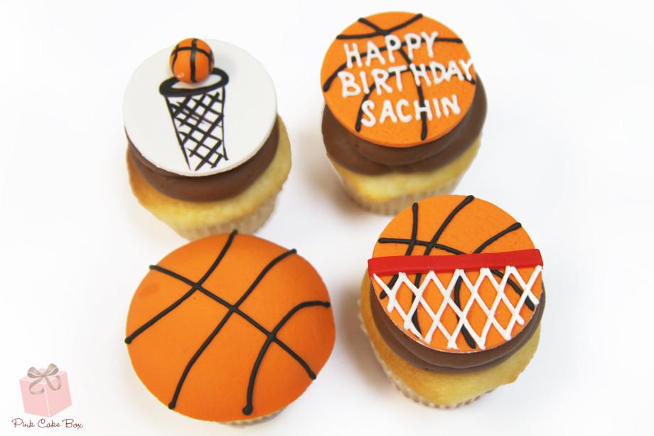 Basketball Cupcake Birthday Cake