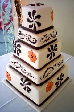 Black and Orange Wedding Cake