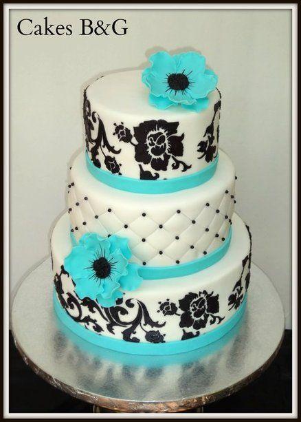 Black White and Turquoise Cake